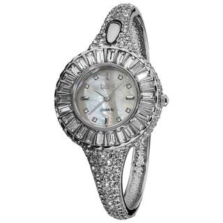 Burgi Women's 'Sizzling' Diamond and Silvertone Bangle Watch