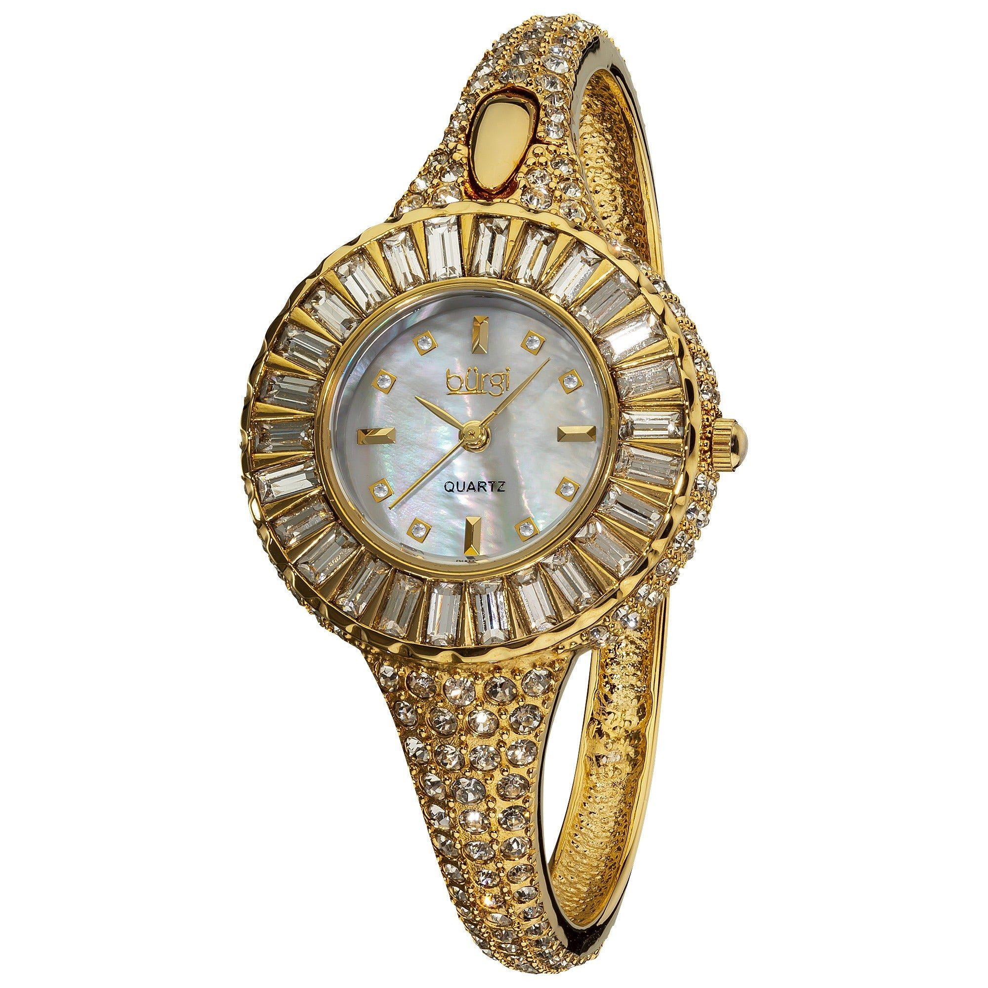 Burgi Women's 'Sizzling' Diamond and Crystal Goldtone Ban...