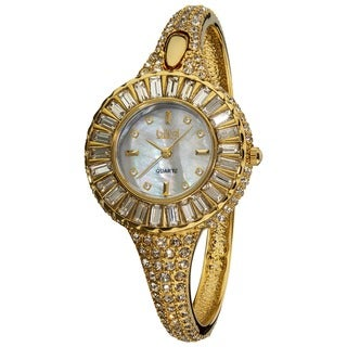 Burgi Women's 'Sizzling' Diamond and Crystal Goldtone Bangle Watch