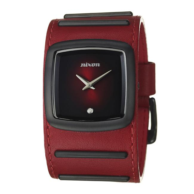 Nixon Men's 'The Duke' Black Stainless Steel and Leather Quartz Watch