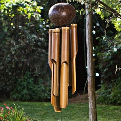 Bamboo 'Natural Small' Wind Chime, Handmade in Indonesia - Thumbnail 1