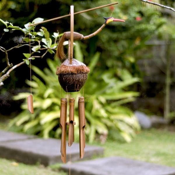 "Handmade Bamboo ""Large Bird"" Wind Chime (Indonesia)"