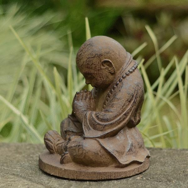 Brown Stone Baby Buddha Monk Statue, Handmade in Indonesia
