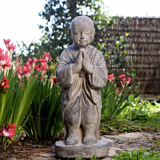 Stone Standing Buddha Monk Sculpture, Handmade in Indonesia