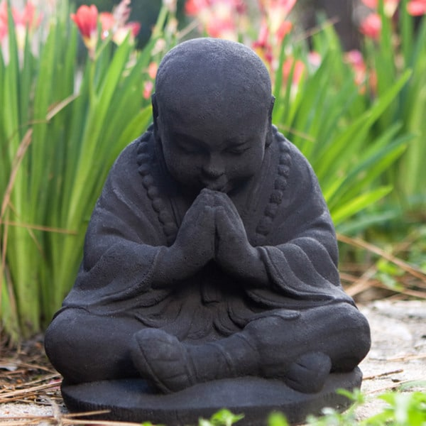 Black Stone Baby Buddha Monk Sculpture (Indonesia)
