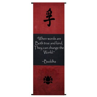 Cotton Truth Symbol and Buddha Quote Scroll, Handmade in Indonesia
