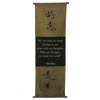 Cotton Spirit Symbol and Buddha Quote Scroll, Handmade in Indonesia