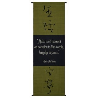Handmade Cotton Live in Peace Symbol/ Thich Nhat Hanh Quote Scroll (Indonesia)