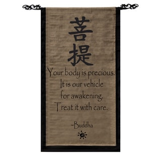 Cotton Awakening Symbol and Buddha Quote Scroll, Handmade in Indonesia
