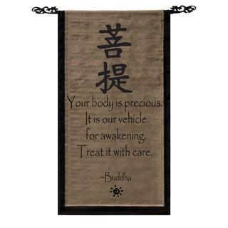 Cotton Awakening Symbol and Buddha Quote Scroll, Handmade in Indonesia