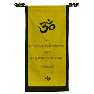 Cotton Om Symbol and Mahatma Gandhi Quote Scroll, Handmade in Indonesia|https://ak1.ostkcdn.com/images/products/5160228/P13000870.jpg?impolicy=medium
