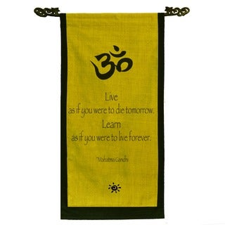Cotton Om Symbol and Mahatma Gandhi Quote Scroll, Handmade in Indonesia