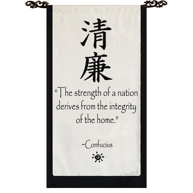 Cotton Integrity Confucius Quote Scroll (Indonesia)
