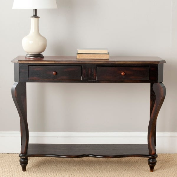 "Safavieh Katie Dark Brown Wood Console Table - 42.5"" x 15.3"" x 32"""