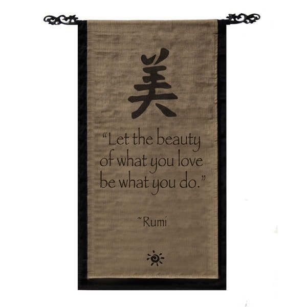 Handmade Cotton Beauty Symbol and Rumi Quote Scroll (Indonesia)
