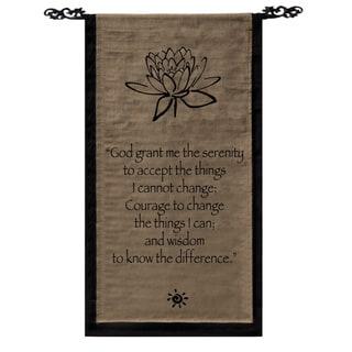 Handmade Cotton Lotus Design Serenity Prayer Scroll (Indonesia)