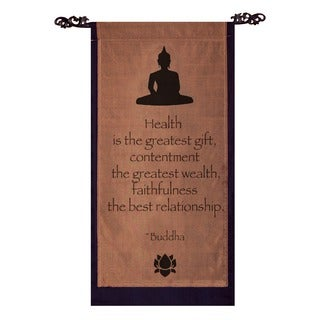 Cotton Buddha Quote Scroll, Handmade in Indonesia