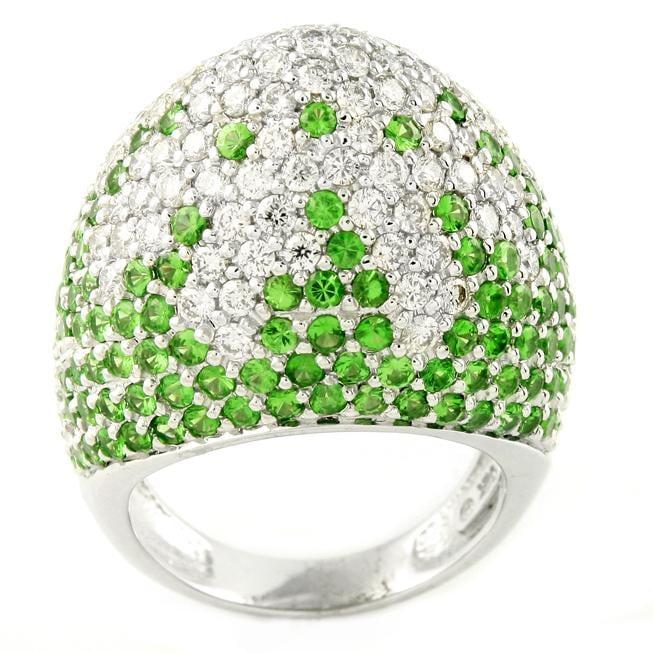 Beverly Hills Charm 14k White Gold Tsavorite and 2ct TDW Diamond Dome Ring