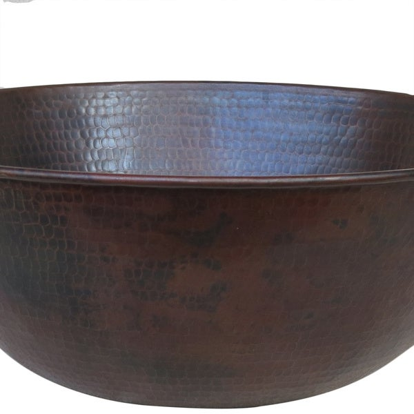 Superb Vintage Dark Solid Copper 13 Inch Vessel Sink   Free Shipping Today    Overstock.com   13001233