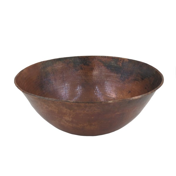 Unikwities 16 X 6 inch Round Fired Copper Vessel Sink