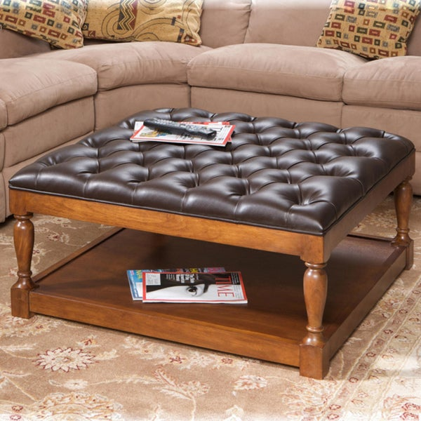 Hayward Dark Brown Bonded Leather Coffee Table Ottoman Free Shipping Today