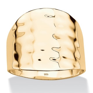 PalmBeach 18k Gold over .925 Sterling Silver Hammered-Style Cigar Band Tailored
