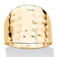 18k Gold over .925 Sterling Silver Hammered-Style Cigar Band Tailored