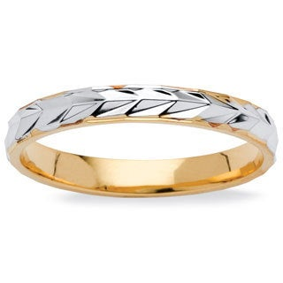 PalmBeach Textured Wedding Ring in Two-Tone 14k Gold-Plated Tailored