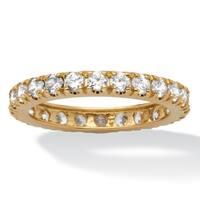 10K Yellow Gold Cubic Zirconia Eternity- Bridal Ring - White