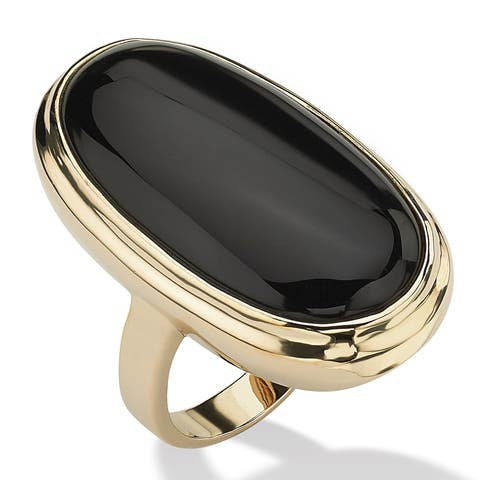 Yellow Gold-Plated Natural Black Onyx Bezel Set Ring