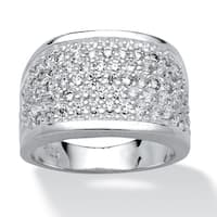 Sterling Silver Cubic Zirconia Cluster Pave Ring - White
