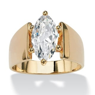 PalmBeach 14k Gold Overlay Marquise-Cut Cubic Zirconia Solitaire Right Hand Ring