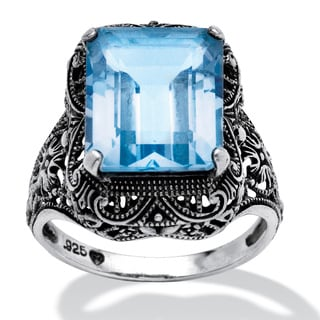 PalmBeach 8.00 TCW Emerald-Cut Blue Genuine Topaz Sterling Silver Antique-Finish Filigree Ring