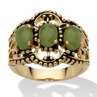 PalmBeach Oval Shaped Green Jade 14k Yellow Gold-Plated Antique-Finish Triple-Stone Filigree Ring Naturalist