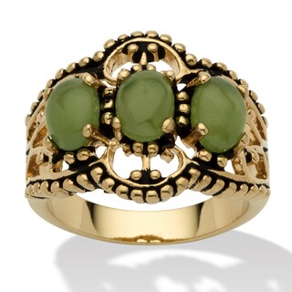 Oval Shaped Green Jade 14k Yellow Gold-Plated Antique-Finish Triple-Stone Filigree Ring Na