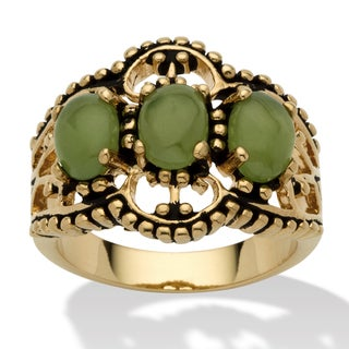 Yellow Gold-Plated Antiqued Genuine Green Jade 3-Stone Ring