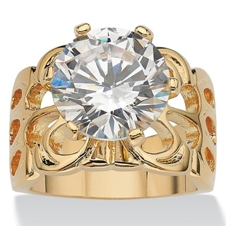 PalmBeach 6.00 TCW Round Cubic Zirconia 14k Yellow Gold-Plated Bridal Engagement Filigree Solitaire Ring Glam CZ
