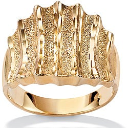 PalmBeach 18k Gold over Sterling Silver Textured Vertical-Row Concave Ring Tailored