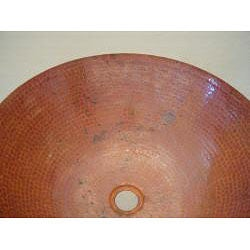 Vintage 13-inch Fired Copper 16 -gauge Vessel Sink - Thumbnail 2