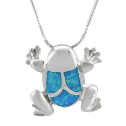 Journee Sterling Silver Blue Opal Frog Necklace