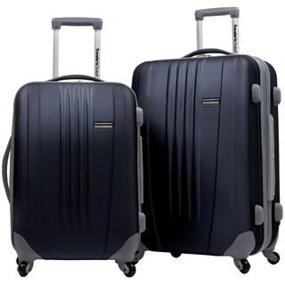 Traveler's Choice Toronto 2-piece Hardside Expandable Checked/Carry On Luggage Set (Option: Black)