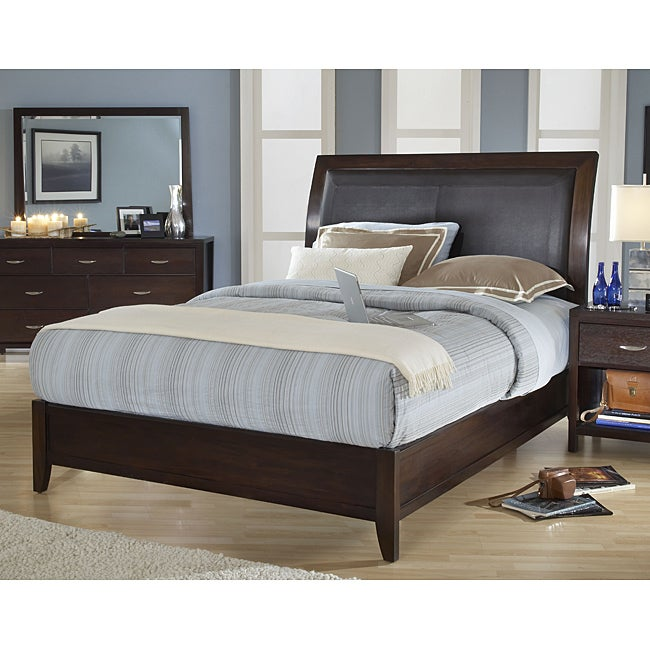 Cushioned Back California King Size Wood Sleigh Bed Free