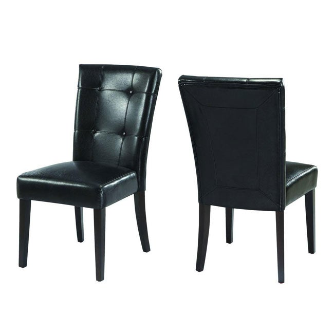 Button Tufted Black Parsons Chair (Set Of 2)