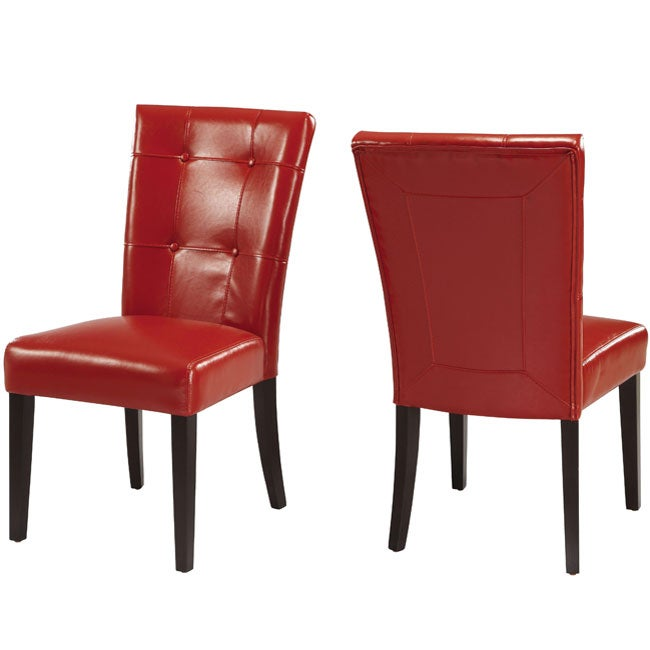 Button-tufted Red Parsons Chair (Set of 2) - Thumbnail 0