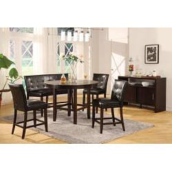 Button-tufted Black Synthetic Leather Kitchen Counter Stool (Set of 2)