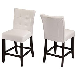 Button-tufted White Counter Stool (Set of 2)