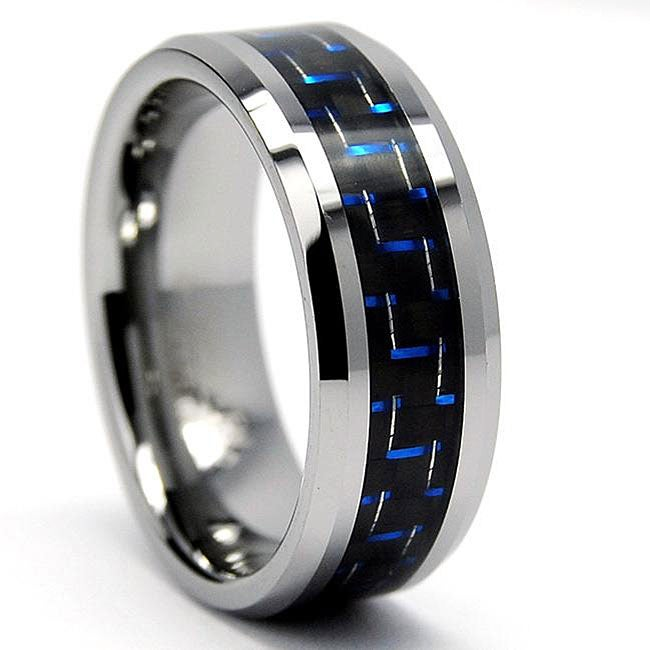 Men's Tungsten with Black and Blue Carbon Fiber Inlay Ring (8 mm) - Thumbnail 0