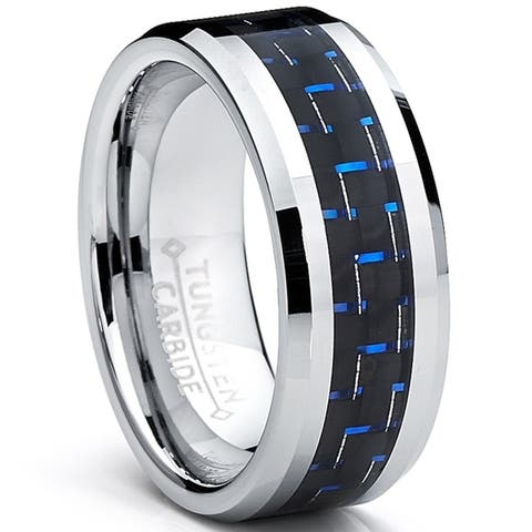 Oliveti Men's Tungsten Ring Black and Blue Carbon Fiber Inlay Wedding Band (8 mm)