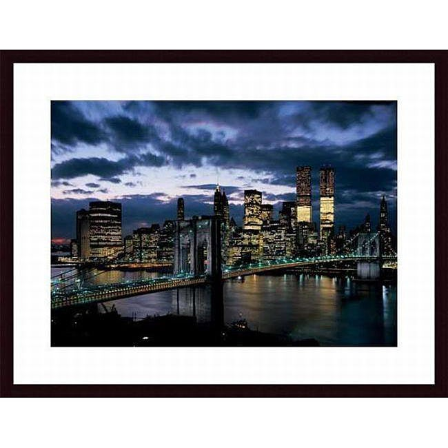 Designart New York City Skyline Panorama 5 Piece Wall: Dmitri Kessel 'Brooklyn Bridge And Lower Manhattan Skyline