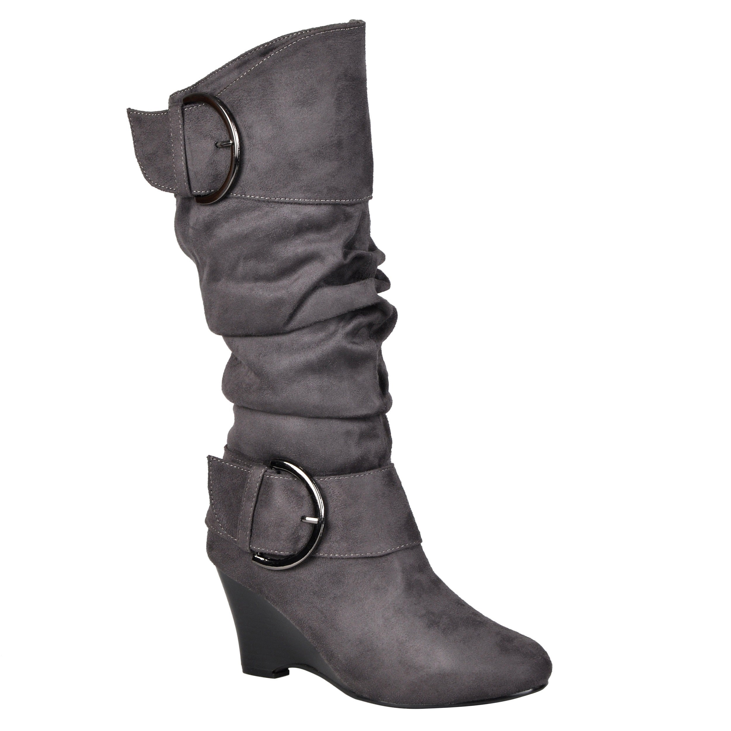 best authentic new season best authentic Journee Collection Women's Regular and Wide-Calf 'Irene-1' Buckle Slouch  Wedge Knee-High Boots